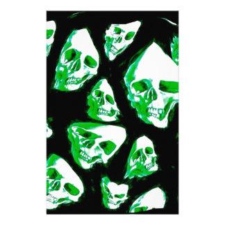 crazy skulls green stationery