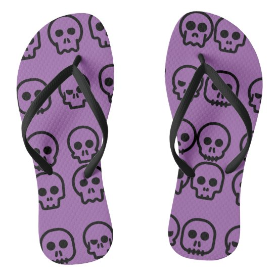 Crazy Skulls Purple Pattern Flip Flops