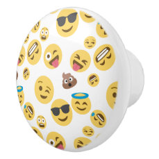 Crazy Smiley Emojis Ceramic Knob