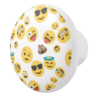 Crazy Smiley Emojis Ceramic Knob
