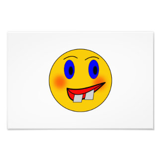 Crazy smiley face cartoon photo print