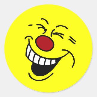 Crazy Smiley Face Grumpey Classic Round Sticker