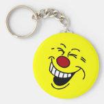 Crazy Smiley Face Grumpey Basic Round Button Keychain