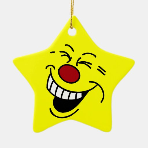 Crazy Smiley Face Grumpey Double-Sided Star Ceramic Christmas Ornament