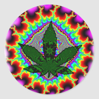 Crazy Smoke Weed Fun Rasta Classic Round Sticker