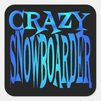 Crazy Snowboarder Square Sticker