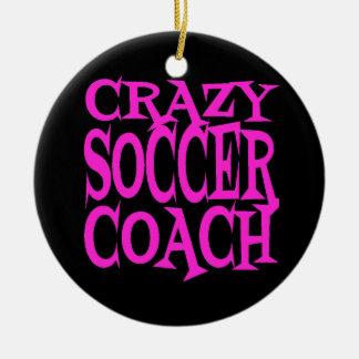 Crazy Soccer Coach in Pink Ceramic Ornament