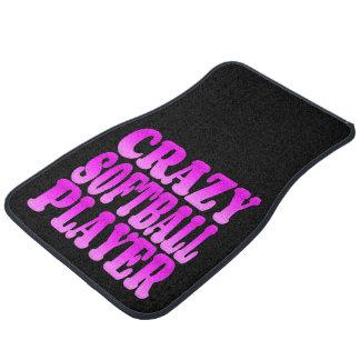 Crazy Softball Player in Pink Car Mat