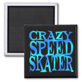 Crazy Speed Skater 2 Inch Square Magnet