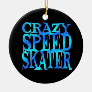 Crazy Speed Skater Ceramic Ornament