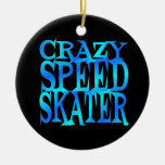 Crazy Speed Skater Double-Sided Ceramic Round Christmas Ornament