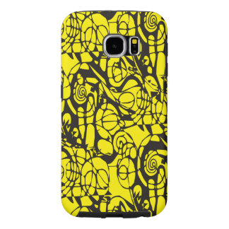 Crazy Spirals Lines black II + your backgr. & idea Samsung Galaxy S6 Case