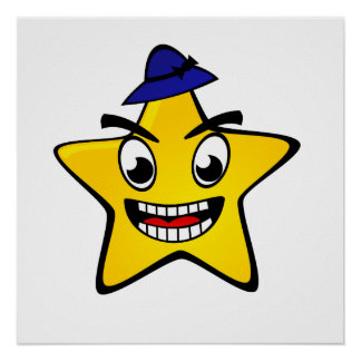 Crazy Star Cartoon Poster