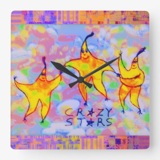 Crazy Stars & Jelly Beans Square Wall Clock