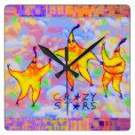 Crazy Stars & Jelly Beans Square Wall Clocks