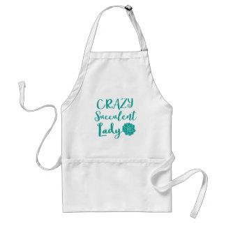 crazy succulent lady adult apron