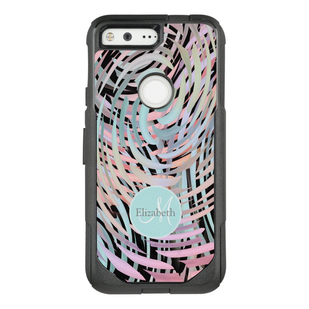 crazy swirled pastels monogrammed OtterBox Google Pixel case