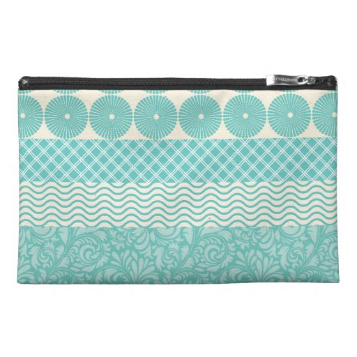Crazy Teal Blue Patterns Circles Floral Plaid Wave Travel Accessories Bags