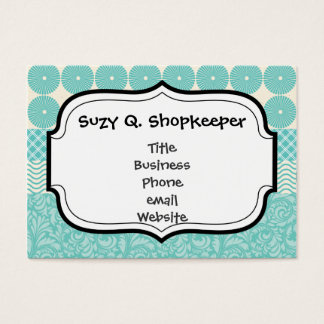 Crazy Teal Blue Patterns Circles Floral Plaid Wave Business Card
