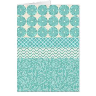 Crazy Teal Blue Patterns Circles Floral Plaid Wave Card
