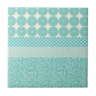 Crazy Teal Blue Patterns Circles Floral Plaid Wave Ceramic Tile