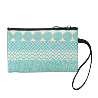 Crazy Teal Blue Patterns Circles Floral Plaid Wave Coin Purse