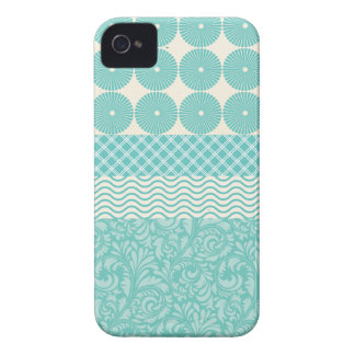 Crazy Teal Blue Patterns Circles Floral Plaid Wave iPhone 4 Case-Mate Case