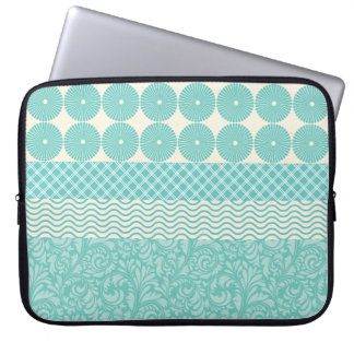 Crazy Teal Blue Patterns Circles Floral Plaid Wave Laptop Sleeve