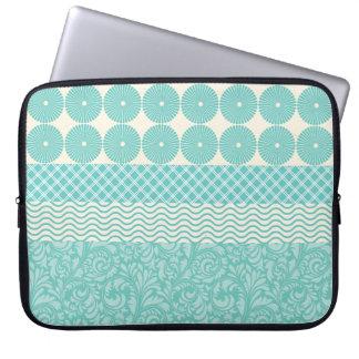Crazy Teal Blue Patterns Circles Floral Plaid Wave Laptop Sleeves