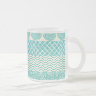 Crazy Teal Blue Patterns Circles Floral Plaid Wave 10 Oz Frosted Glass Coffee Mug