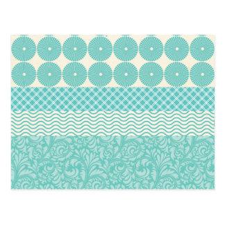 Crazy Teal Blue Patterns Circles Floral Plaid Wave Postcard