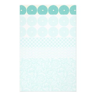 Crazy Teal Blue Patterns Circles Floral Plaid Wave Stationery
