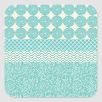 Crazy Teal Blue Patterns Circles Floral Plaid Wave Stickers