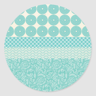 Crazy Teal Blue Patterns Circles Floral Plaid Wave Round Stickers