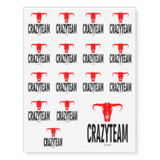 Crazy Team & Bull by VIMAGO Temporary Tattoos