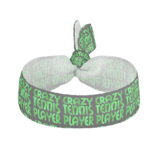 Crazy Tennis Player in Green Ribbon Hair Tie