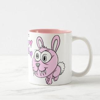 Crazy Tough Pink Bunny Rabbit Two-Tone Coffee Mug