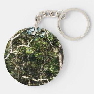 crazy tree limbs nature photo image Double-Sided round acrylic keychain