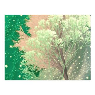 crazy trees green postcard