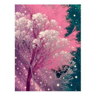 crazy trees pink postcard