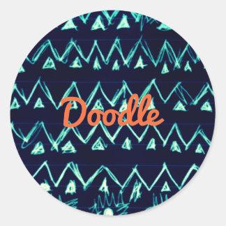 Crazy Tribal Doodle ZigZag Triangle Pattern Round Sticker