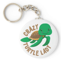 crazy turtle lady circle keychain