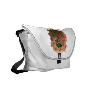 Crazy turtle tongue out roses grunge back courier bag