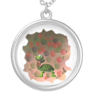 Crazy turtle tongue out roses grunge back round pendant necklace