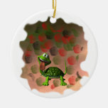 Crazy turtle tongue out roses grunge back christmas ornaments