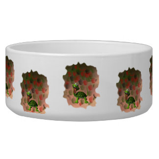 Crazy turtle tongue out roses grunge back pet food bowls