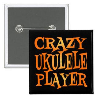 Crazy Ukulele Player Pinback Button