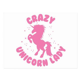 crazy unicorn lady circle in pink postcard