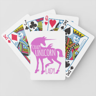 crazy unicorn lady in pink bicycle playing cards