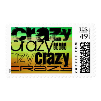Crazy; Vibrant Green, Orange, & Yellow Postage